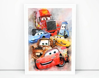 Disney Cars print Lighting McQueen Poster Cars print Birthday gift Ideas Mater Guido Sally wall decor Nursery wall art Kids room decor K1487