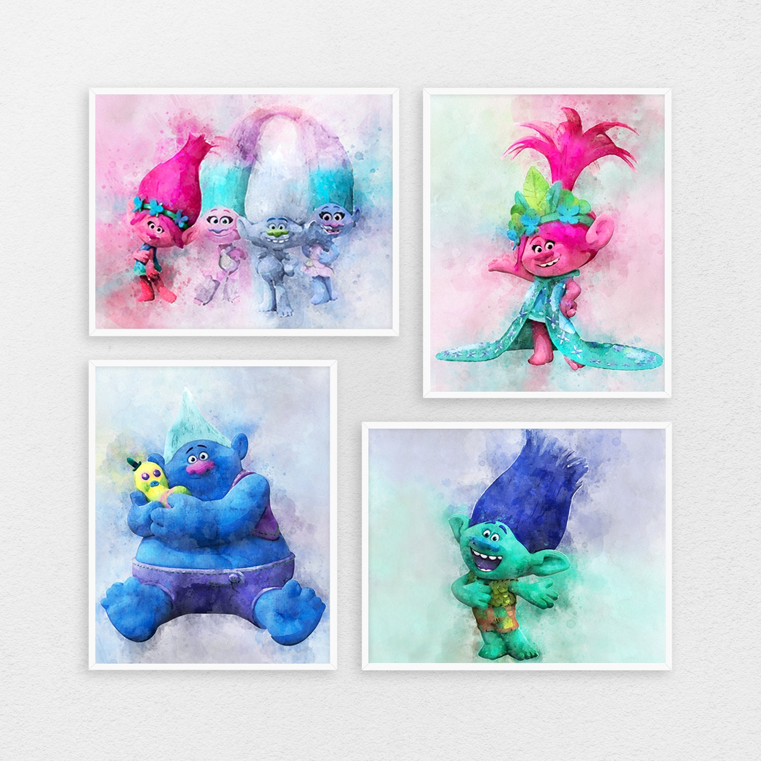 - Trolls Poster Print 4 Set Of Poster Trolls Sets 4 Print With Etsy