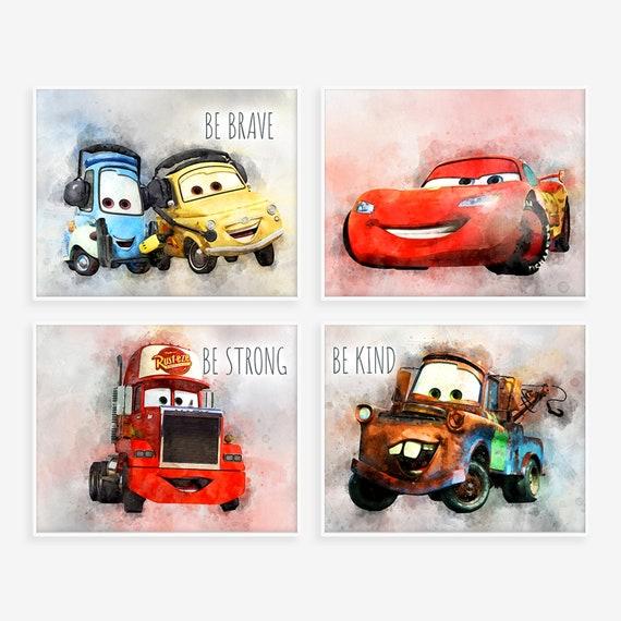 Disney Cars Print Set Of 4 Disney Car 3 Nursery Wall Art Etsy