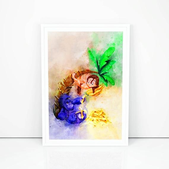 Tarzan Jane Wall Art Disney Watercolor Poster Baby Print Home Decor UNFRAMED