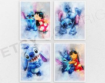 Lilo and Stitch print set of 4 Lilo and Stitch poster Disney room decor Nursery wall art Kids room decor birthday Gift ideas Playground R187