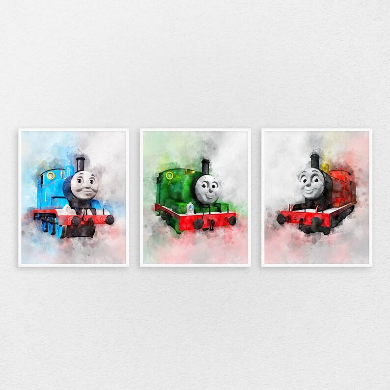 Watercolour  A4 paint  nursery Thomas the tank engine  Print