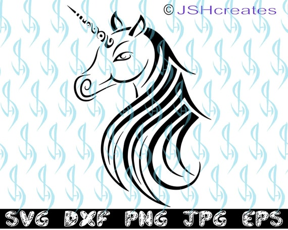 Unicorn svg, Unicorn Head svg, Unicorn, SVG, clipart, decal, eps, dxf, png,  silhouette, stencil, cut file, vinyl, Tattoo Design, JSHcreates