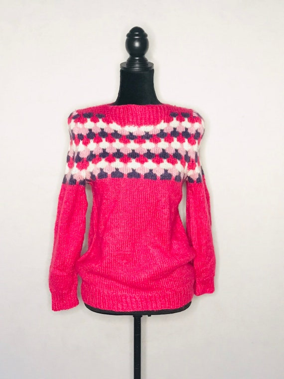 1960s Nordic sweater/ vintage pullover mohair hand