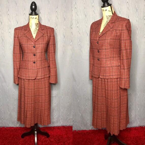 1970s suit/ Vintage 1970s Evan Picone plaid suit