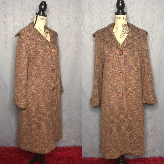 1960s coat/ Vintage 1960s wool sweater coat