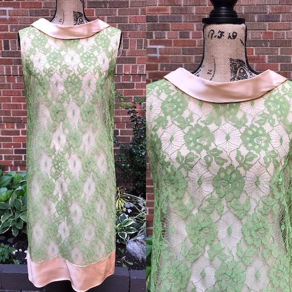 1960s dress/ vintage 1960s lace dress