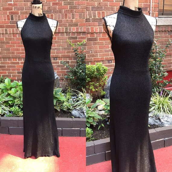 1970s dress/ Vintage 1970s lurex black and silver