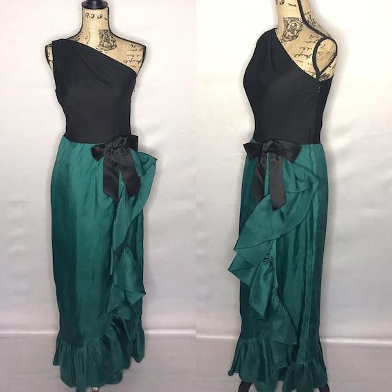 1960s dress/ Vintage 1960s one-shoulder wrap dress