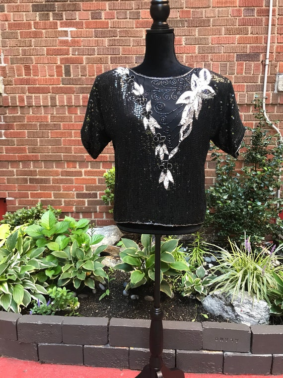 Vintage 1980s black beaded sequins silk blouse - image 4