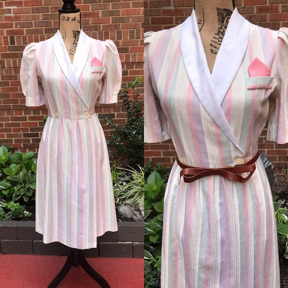 1970s dress/ Vintage 1970s Betsy's things stripe w