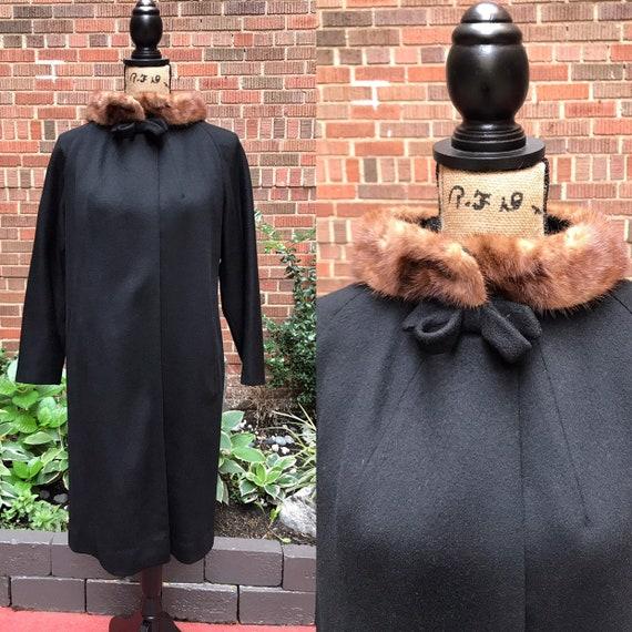 1950s Coat/ Vintage 1950s swing Wool Coat