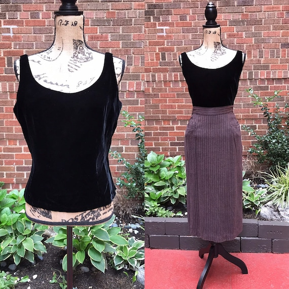 1940s blouse/ Vintage 1940s velvet blouse