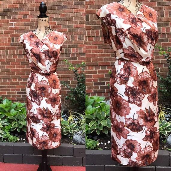 1950s dress/ Vintage 1950s wiggle dress