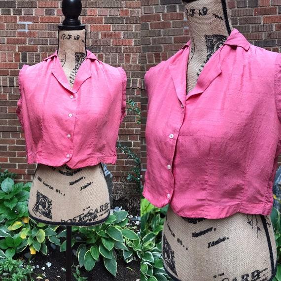 1940s blouse/ Vintage 1940s silk blouse