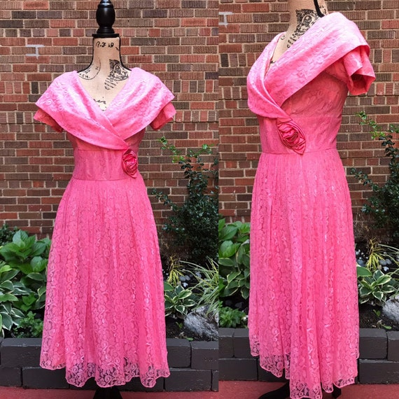 1950s dress/ Vintage 1950s lace dress