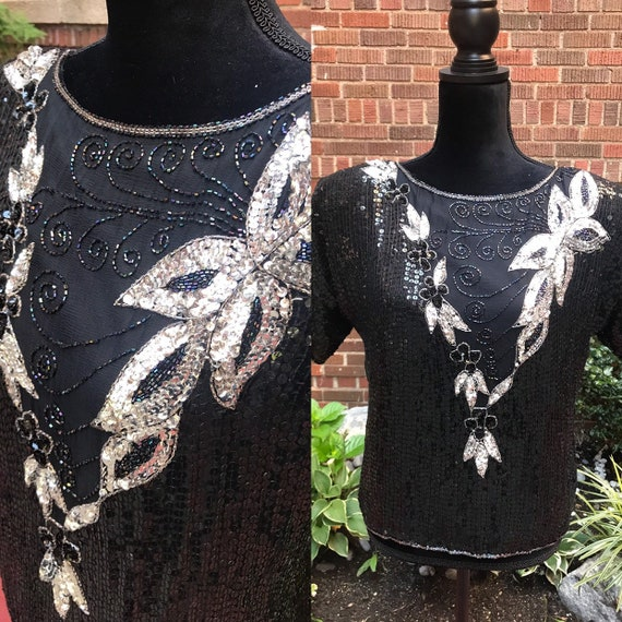 Vintage 1980s black beaded sequins silk blouse