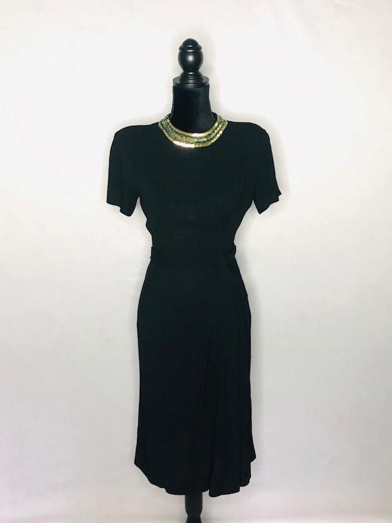 1940s dress/ Vintage 1940s rayon crepe dress - image 2