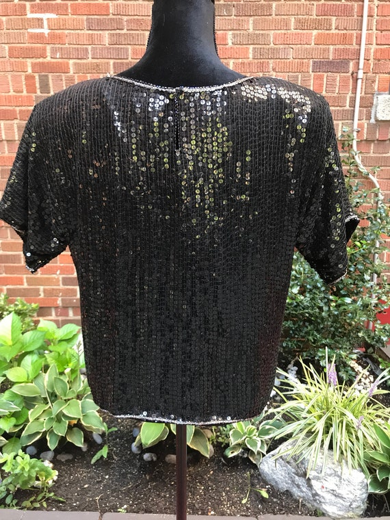 Vintage 1980s black beaded sequins silk blouse - image 7
