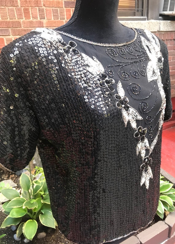 Vintage 1980s black beaded sequins silk blouse - image 5