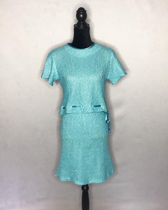 1960s knit set/ vintage 1960s tweed knit set. - image 2