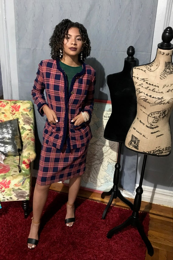 Women 1960's Plaid co-ord