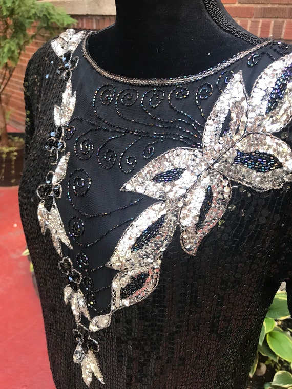 Vintage 1980s black beaded sequins silk blouse - image 6