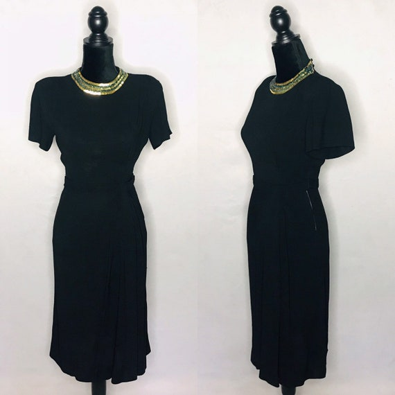 1940s dress/ Vintage 1940s rayon crepe dress