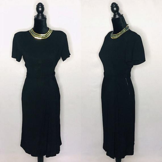 1940s dress/ Vintage 1940s rayon crepe dress - image 1