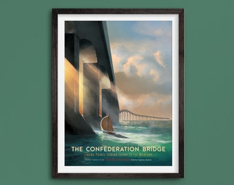 The Confederation Bridge - Vintage Style Travel Poster - Limited Edition Print