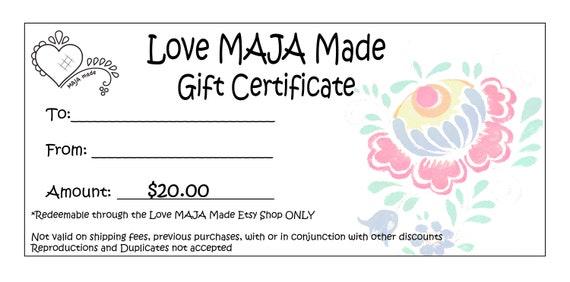 20 Dollar Love Maja Made Etsy Gift Certificate