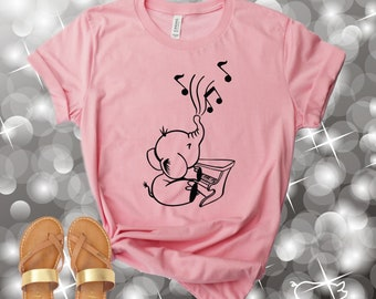 40cc1e0e Elephant Shirt, Elephant Playing Piano Shirt, Elephant Playing Music Shirt,  Animal Shirt, Unisex Graphic Tees, Womens Shirts, Gifts For Her