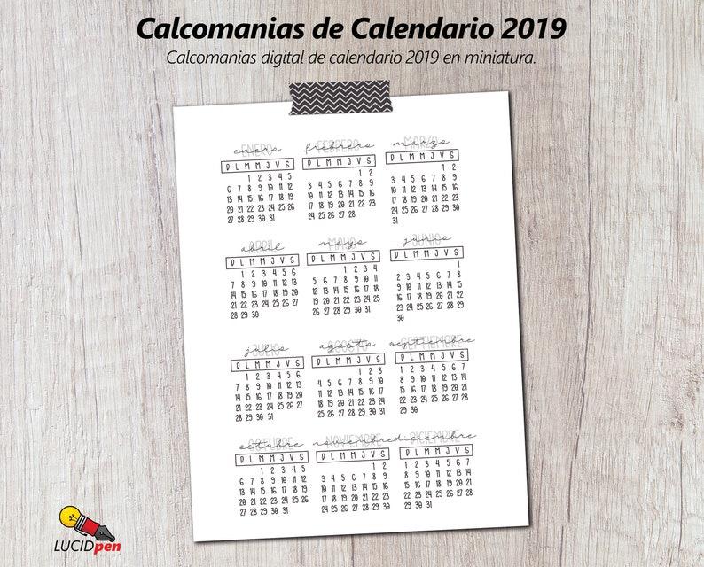 Calendario Fisico.Calcomanias Digital De Calendario 2019 En Miniatura Digital 2019 Mini Calendar Stickers In Spanish Calendario Del 2019 In Digital