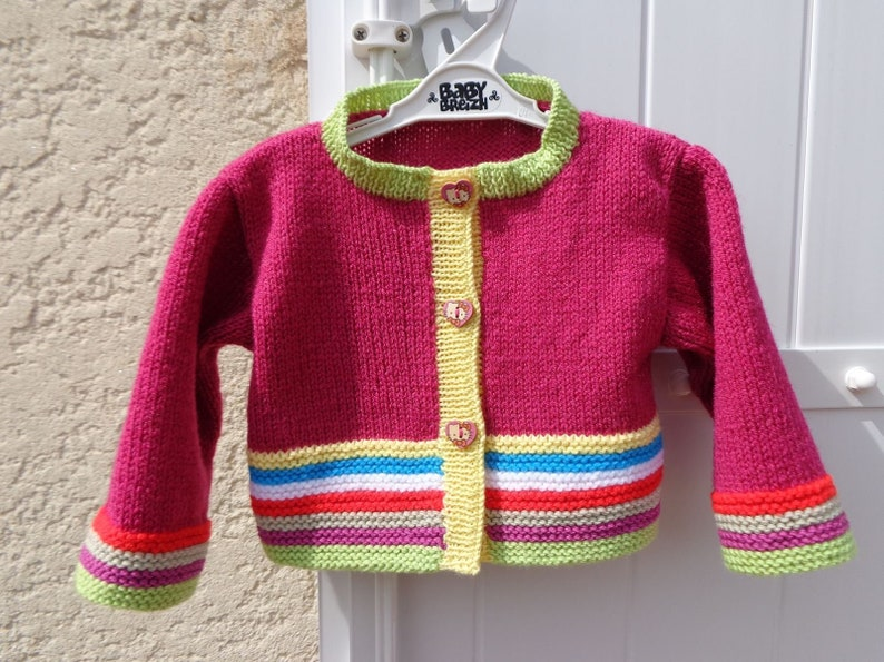 8d428b9bb654 Life jacket baby girl 6 9 months fuschia warm soft acrylic