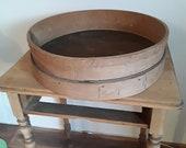 Old flour sieve , wood sieve 49.5 cm diameter, bentwood sieve, grain sieve 29 cm farmer 39 s sieve for decorating, vintage