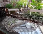 old french farmhouse basket, large wire basket, harvest basket handle basket with wooden handle,farmhouse basket,Brocante, ,Vintage