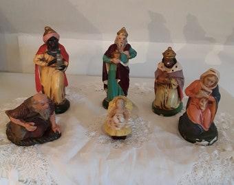 """6 alte Krippenfiguren, Pappmache/Masse,""""Jesuskind in Krippe""""  Maria Joseph Könige,Weihnachtskrippe,Landhausdeko,Shabby,Brocante,Vintage"""
