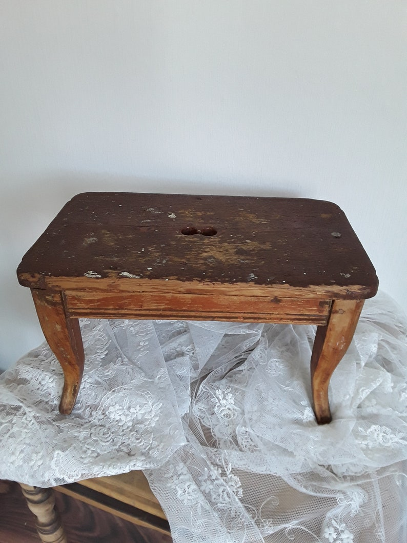 Outstanding Ancient Footstool Wooden Stools Farmers Stool Old Lacquer Stool Bank Hitsche Biedermeier 1860 France Brocante Vintage Dailytribune Chair Design For Home Dailytribuneorg