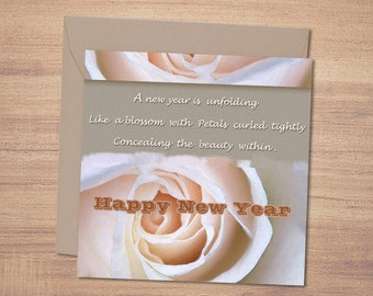 printable new year cardhappy new year new year greetings digital print new year wishlovely rose petals greeting card