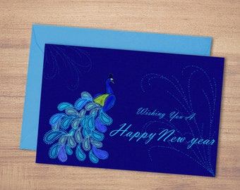 happy new year greeting card printable new year cardpaisley peacock art greetingsnew year wish giftdigital prints