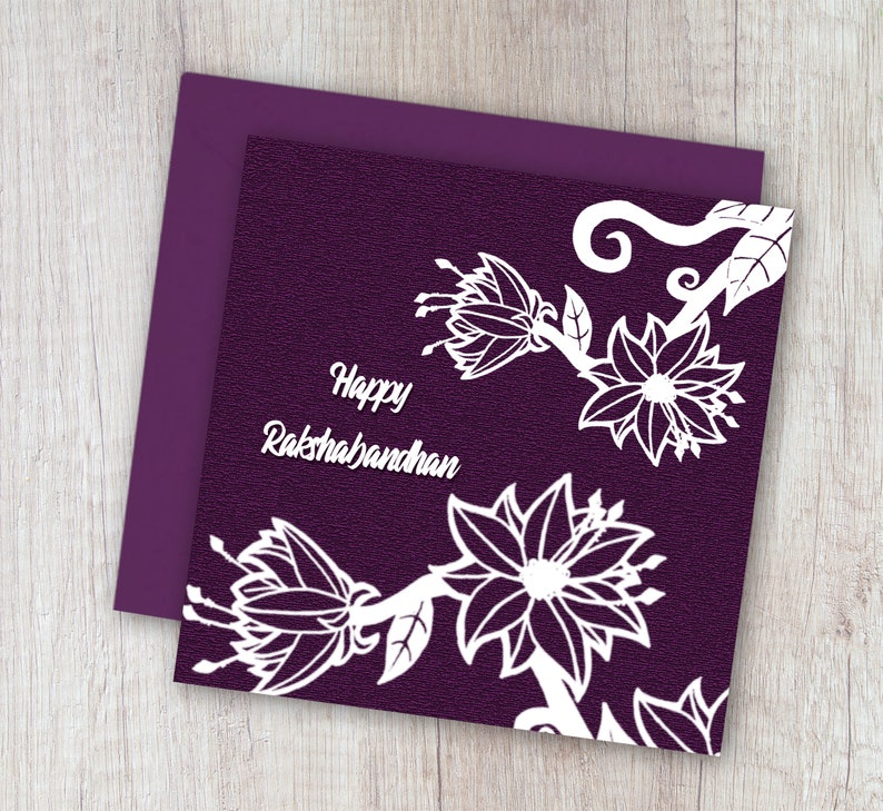 photograph relating to Raksha Bandhan Printable Cards named Printable Raksha Bandhan Card, Floral Artwork Rakhi Want, Delighted Rakshabandhan Card,For Brother ,For sister, Fast Down load