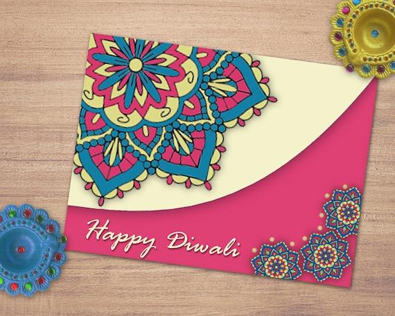 Happy Diwalimandala Greeting Cards Printable Diwali Etsy