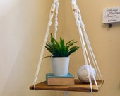 Handmade macrame timber shelf, shabby chic, bohemian pot plant hanger, hanging planter, plant hanger, floating shelf, vintage style, boho