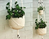 Handmade macrame double hanging basket, shabby chic, boho interior decor, vintage style, cottage house ideas bohemian design