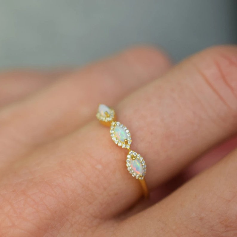 Marquise Gold 14K Opal Ring Marquise Opal Ring And Natural White Topaz Ring Stone Ring Dainty Wedding Opal Ring Bridesmaid Gift Ring