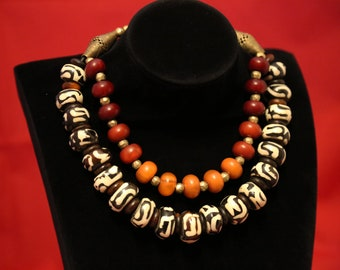 Ethiopian Necklace Silver Cherry Faux Amber Africa 125559