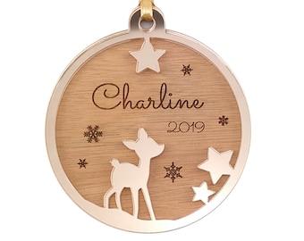 Custom Christmas Ball - Fawn - 1st Baby Christmas (Personalised Ornament, Christmas Decoration)