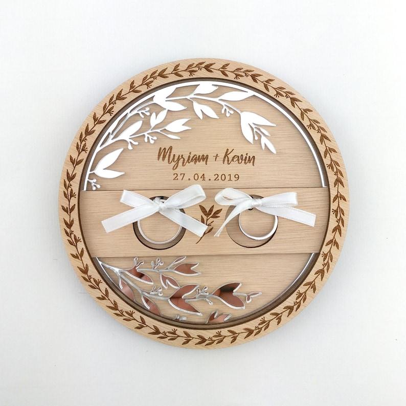 Custom wooden wedding ring door champetre ring holder image 0