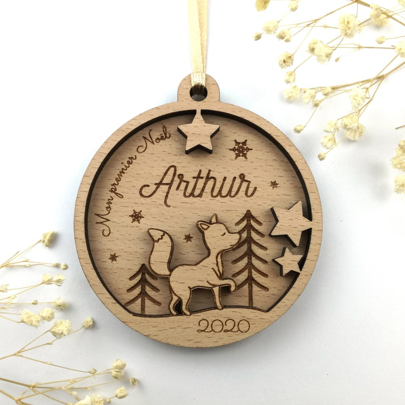 Boule de Noël renard personnalisée 1er noël bébé - Créatrice ETSY : PoppizFab