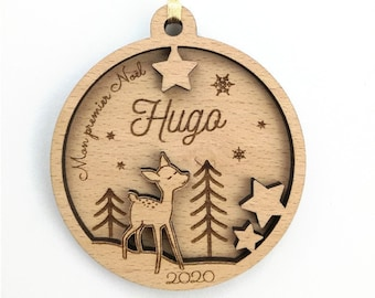 Personalized Fawn Christmas Ball - First Baby Christmas (Personalized Ornament, Christmas Decoration)